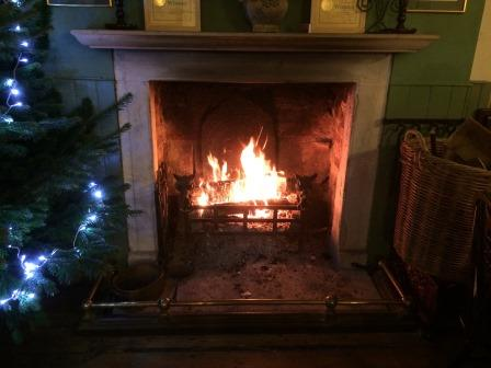 Welcoming fire in main bar